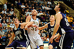 19 MAR 2011:  Center Tommy Hannon (44) of St. Thomas blocks out Jake Mays (52) of College of Wooster during the Division III Men's Basketball Championship held at the Salem Civic Center in Salem, VA. The University of St. Thomas (Minnesota) defeated College of Wooster 78-54 to win the national title.  Andres Alonso/NCAA Photos
