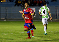 PASTO - COLOMBIA, 23-04-2018: Michael Ortega, jugador de Deportivo Pasto celebra el gol anotado a Boyacá Chicó F. C., durante partido entre Deportivo Pasto y Boyacá Chicó F. C., de la fecha 17 por la Liga Aguila I 2018, jugado en el estadio Departamental Libertad de la ciudad de Pasto.  / Michael Ortega, player of Deportivo Pasto celebrates the scored goal to Boyaca Chico F. C., during a match between Deportivo Pasto and Boyaca Chico F. C., of the 17th date for the Liga Aguila I 2018 at the Departamental Libertad stadium in Pasto city. Photo: VizzorImage. / Leonardo Castro / Cont.