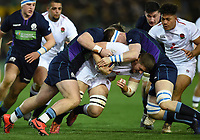 Tom Willis of England U20 is double-tackled. U20 Six Nations match, between England U20 and Scotland U20 on March 15, 2019 at Franklin's Gardens in Northampton, England. Photo by: Patrick Khachfe / JMP
