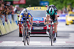 Photo finish as Julian Alaphilippe (FRA) Deceuninck-Quick Step just pips Gregor Mühlberger (AUT) Bora-Hansgrohe for the victory on the finish line of Stage 6 of the Criterium du Dauphine 2019, running 229km from Saint-Vulbas - Plaine de l'Ain to Saint-Michel-de-Maurienne, France. 14th June 2019.<br /> Picture: Mario Stiehl/Radsport | Cyclefile<br /> All photos usage must carry mandatory copyright credit (© Cyclefile | Radsport/Mario Stiehl)