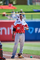 Albuquerque Isotopes starting pitcher Yency Almonte (36) in the bullpen before the game against the Salt Lake Bees at Smith's Ballpark on April 22, 2018 in Salt Lake City, Utah. The Bees defeated the Isotopes 11-9. (Stephen Smith/Four Seam Images)