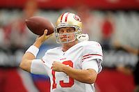 Sept. 13, 2009; Glendale, AZ, USA; San Francisco 49ers quarterback (13) Shaun Hill against the Arizona Cardinals at University of Phoenix Stadium. San Francisco defeated Arizona 20-16. Mandatory Credit: Mark J. Rebilas-