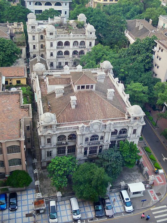The Company's Offices Built In 1906 On Shamian (Shameen) Island In Guangzhou (Canton).  The German Consulate, Which Was Later Acquired By APC, Is To The Rear.  This Was Taken Before Redecoration Of Both Buildings In 2010.  The View Is From The White Swan Hotel.