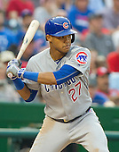 Chicago Cubs shortstop Addison Russell (27) bats in the tenth inning against the Washington Nationals at Nationals Park in Washington, D.C. on Wednesday, June 15, 2016.  The Nationals won the game 5 - 4 in 12 innings.<br /> Credit: Ron Sachs / CNP