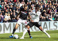 Bolton Wanderers' Gary O'Neil competing with Derby County's Fikayo Tomori <br /> <br /> Photographer Andrew Kearns/CameraSport<br /> <br /> The EFL Sky Bet Championship - Derby County v Bolton Wanderers - Saturday 13th April 2019 - Pride Park - Derby<br /> <br /> World Copyright &copy; 2019 CameraSport. All rights reserved. 43 Linden Ave. Countesthorpe. Leicester. England. LE8 5PG - Tel: +44 (0) 116 277 4147 - admin@camerasport.com - www.camerasport.com