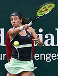Anastasia Sevastova (LAT) battles against Julia Goerges (GER) before the rains came