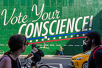 Aby Rosen, billboard, advertising, Vote Your Conscience, Ted Cruz quote, Not Trump, anti trump, US Elections 2016, election 2016, NYC, New York City, USA, North America