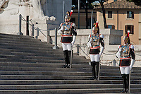 Roma 25 Aprile 2014<br /> Cerimonia  per la Festa della Liberazione  dal nazi fascismo all 'Altare della Patria,Corazzieri<br /> Rome April 25, 2014 <br /> Ceremony for the Liberation Day from Nazi fascism at Altare della Patria (Altar of the Fatherland) in Rome,