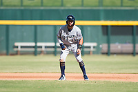 Peoria Javelinas third baseman Weston Wilson (18), of the Milwaukee Brewers organization, takes a lead off first base during an Arizona Fall League game against the Mesa Solar Sox at Sloan Park on October 24, 2018 in Mesa, Arizona. Mesa defeated Peoria 4-3. (Zachary Lucy/Four Seam Images)