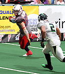 SIOUX FALLS, SD - MAY 4:  Blake Wilson #88 from the Sioux Falls Storm scampers past the defense of Ramon Broadway #2 from the Nebraska Danger in the first quarter of their game Saturday night at the Sioux Falls Arena. (Photo by Dave Eggen/Inertia)