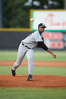 Pulaski Yankees starting pitcher Jhon Morban (56) in action against the Burlington Royals at Burlington Athletic Park on August 6, 2015 in Burlington, North Carolina.  The Royals defeated the Yankees 1-0. (Brian Westerholt/Four Seam Images)