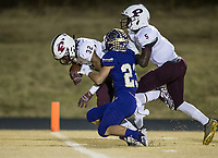 NWA Democrat-Gazette/BEN GOFF @NWABENGOFF<br /> Derrium Thompson (32), Prescott receiver, breaks into the end zone past the defense of Booneville's Ethan Dobbs (23), as Jacobi Nolen (5) of Prescott blocks, in the first quarter Saturday, Dec. 1, 2018, during the class 3A state semifinal game at Bearcat Stadium in Booneville.