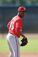 Washington Nationals pitcher Jairon Peguero (45) doing pitching drills before a Minor League Spring Training game against the Miami Marlins on March 28, 2018 at FITTEAM Ballpark of the Palm Beaches in West Palm Beach, Florida.  (Mike Janes/Four Seam Images)