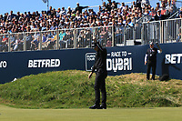 Matt Wallace (ENG) misses his putt on the 18th green during Round 4 of the Betfred British Masters 2019 at Hillside Golf Club, Southport, Lancashire, England. 12/05/19<br /> <br /> Picture: Thos Caffrey / Golffile<br /> <br /> All photos usage must carry mandatory copyright credit (© Golffile | Thos Caffrey)