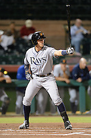 Salt River Rafters first baseman Richie Shaffer (19), of the Tampa Bay Rays organization, during an Arizona Fall League game against the Scottsdale Scorpions on October 9, 2013 at Scottsdale Stadium in Scottsdale, Arizona.  Salt River defeated Scottsdale 12-2.  (Mike Janes/Four Seam Images)