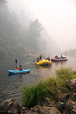 USA, Oregon, Wild and Scenic Rogue River in the Medford District, rafts and kayaks in the water at Grave Creek