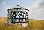 Grain bin with graffiti in rural Montana: Welcome to the Middle of Nowhere