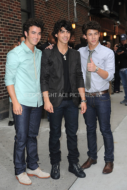 """WWW.ACEPIXS.COM . . . . . ....June 11 2009, New York City....Pop band The Jonas Brothers made an appearance at the """"Late Show with David Letterman"""" at the Ed Sullivan Theatre on June 11 2009 in New York City....Please byline: KRISTIN CALLAHAN - ACEPIXS.COM.. . . . . . ..Ace Pictures, Inc:  ..tel: (212) 243 8787 or (646) 769 0430..e-mail: info@acepixs.com..web: http://www.acepixs.com"""