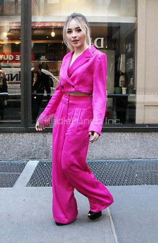 NEW YORK, NY - NOVEMBER 8: Sabrina Carpenter seen leaving  NBC's Today Show in New York City on November 08, 2018. Credit: RW/MediaPunch