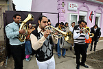 "THIS PHOTO IS AVAILABLE AS A PRINT OR FOR PERSONAL USE. CLICK ON ""ADD TO CART"" TO SEE PRICING OPTIONS.   The church band plays a traditional Roma song outside the United Methodist Roma congregation in Jabuka, Serbia.."