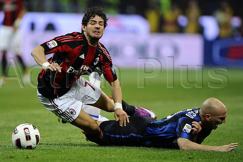 02 04 2011  Series A Milan Inter . Heavy tackle between  Alexandre Pato and Esteban Cambiasso