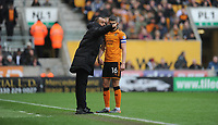 Wolverhampton Wanderers manager Nuno  gives instructions to Conor Coady<br /> <br /> Photographer Ashley Crowden/CameraSport<br /> <br /> The EFL Sky Bet Championship - Wolverhampton Wanderers v Birmingham City - Sunday 15th April 2018 - Molineux - Wolverhampton<br /> <br /> World Copyright &copy; 2018 CameraSport. All rights reserved. 43 Linden Ave. Countesthorpe. Leicester. England. LE8 5PG - Tel: +44 (0) 116 277 4147 - admin@camerasport.com - www.camerasport.com