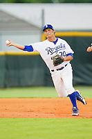 Burlington Royals third baseman Patrick Leonard #30 makes a throw to first base against the Bristol White Sox at Burlington Athletic Park on July 6, 2012 in Burlington, North Carolina.  The Royals defeated the White Sox 5-2.  (Brian Westerholt/Four Seam Images)