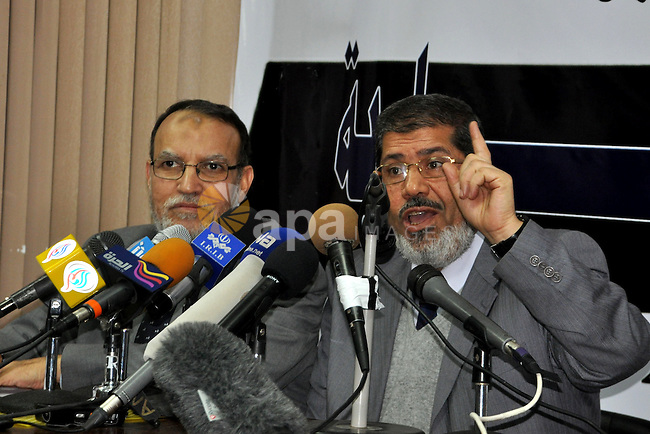 Egyptian Muslim Brotherhood spokesman Mohamed Morsi talks during a press conference in Cairo, Egypt, Sunday, Feb. 6, 2011. Egypt's largest opposition group, the Muslim Brotherhood, said it would begin talks Sunday with the government to try to end the country's political crisis but made clear it would insist on the immediate ouster of longtime authoritarian President Hosni Mubarak.  Photo by Ahmed Asad