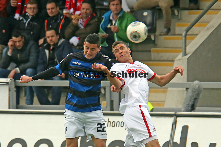 Odise Roshi (FSV) gegen Jonas Hector (Koeln) - FSV Frankfurt vs. 1. FC Koeln, Frankfurter Volksbank Stadion