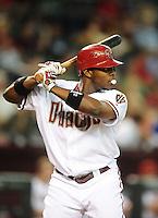 Jul. 20, 2010; Phoenix, AZ, USA; Arizona Diamondbacks outfielder Justin Upton blows a bubble as he bats against the New York Mets at Chase Field. Mandatory Credit: Mark J. Rebilas-