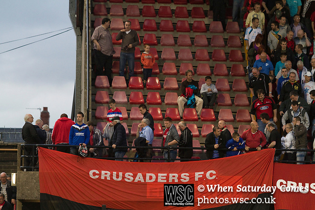 Crusaders 1 Fulham 3, 16/07/2011. Seaview Park, Europa League 2nd qualifying round first leg. Crusaders supporters leaving the Tal stand at the end of their team's match with Fulham in a UEFA Europa League 2nd qualifying round, first leg match at Seaview, Belfast. The visitors from England won by 3 goals to 1 before a crowd of 3011. Photo by Colin McPherson.
