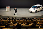 """******FOR MAGAZINE*******.Carlos Ghosn, president and CEO of Nissan Motor Co., addresses employees during a """"town hall"""" meeting at the automaker's headquarters in Yokohama, Japan on Monday 19 Oct.  2009. .Photographer: Robert Gilhooly/Bloomberg News"""