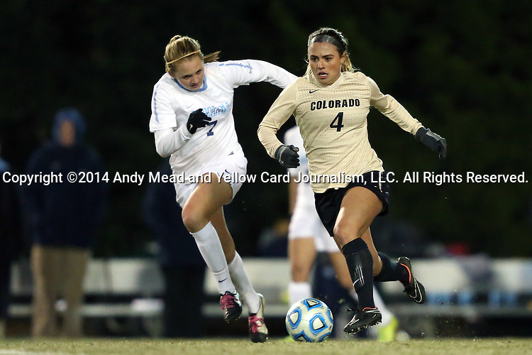 21 November 2014: Colorado's Madison Krauser (4) and North Carolina's Annie Kingman (7). The University of North Carolina Tar Heels hosted the University of Colorado Buffaloes at Fetzer Field in Chapel Hill, NC in a 2014 NCAA Division I Women's Soccer Tournament Second Round match. UNC won the game 1-0 in overtime.