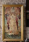 Artwork fabric tapestry after Burne-Jones by Lady Horner, Mells church, Somerset, England, UK