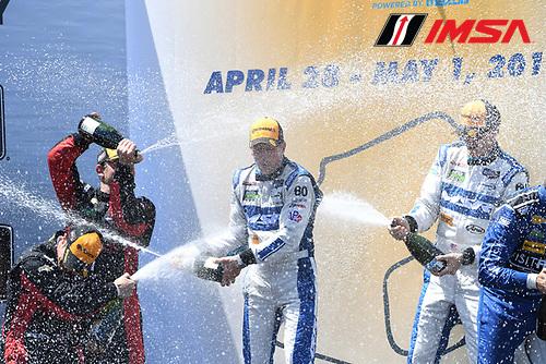 29 April - 1 May, 2016, Monterey, California USA<br /> 60, Honda HPD, Ligier JS P2, P, Oswaldo Negri, Jr. celebrates on podium.<br /> &copy;2016, Richard Dole<br /> LAT Photo USA