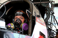 Mar 29, 2014; Las Vegas, NV, USA; NHRA top fuel driver Steve Torrence during qualifying for the Summitracing.com Nationals at The Strip at Las Vegas Motor Speedway. Mandatory Credit: Mark J. Rebilas-