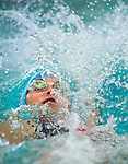 Willow Creek's Breanne Brasher competes in the 50 yard back race during the 53rd annual Country Club Swimming Championships on Tuesday, Aug. 7, 2012, in Kearns, Utah. (© 2012 Douglas C. Pizac)