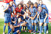 The victorius French team are estatic on winning the UEFA Womens U19 Final at Parc y Scarlets Saturday 31st August 2013. All images are the copyright of Jeff Thomas Photography-www.jaypics.photoshelter.com-07837 386244-Any use of images must be authorised by the copyright owner.