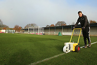 Groundsman prepare the pitch before the teams arrive during Kingstonian vs AFC Fylde, Emirates FA Cup Football at King George's Field on 30th November 2019
