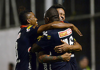ENVIGADO -COLOMBIA-26-OCTUBRE-2014. German Ezequiel Cano   del Medellin    celebra su gol contra Envigado durante partido de la 16 fecha de La Liga Postobon jugado en el estadio Polideportivo Sur. / German Ezequiel Cano  of Medellin celebrates his goal against Envigado during the 16th date round match of La Liga Postobon played at the Polideportivo Sur  Stadium .  Photo: VizzorImage / Luis Rios / Stringer
