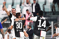 26th July 2020, Turin, Italy;  Juventus celebrate as they score  during the Seria A league game, Juventus versus Sampdoria