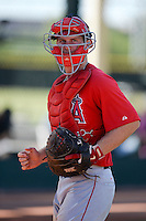 Los Angels Angels of Anaheim catcher Stephen McGee (44) during an instructional league game against the Colorado Rockies on September 30, 2013 at Tempe Diablo Stadium Complex in Tempe, Arizona.  (Mike Janes/Four Seam Images)