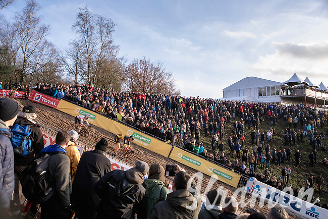 Belgian National Champion and later race winner Toon Aerts (BEL/Telenet Baloise Lions) and Thomas Pidcock (GBR/TP Racing) diving into the infamous 'Pit'<br /> <br /> CX Superprestige Zonhoven (BEL) 2019<br /> Elite & U23 mens race
