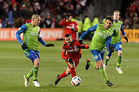 Toronto, ON, Canada - Saturday Dec. 10, 2016: Osvaldo Alonso, Sebastian Giovinco, Cristian Roldan during the MLS Cup finals at BMO Field. The Seattle Sounders FC defeated Toronto FC on penalty kicks after playing a scoreless game.