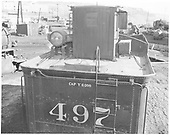 Detail of top rear of K-37 #497 tender.<br /> D&amp;RGW  Durango, CO  Taken by Payne, Andy M. - 2/10/1971