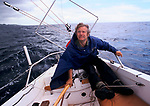 Michael Spring  disabled sailor, single hand return trip to the Azores 1983 to raise money for the Pain Relief Foundation. <br /> Mike Spring lost the use of his legs in a car accident on the A5 road England and went on to make many solo sea voyages. Seen here sailing off the coast of Sao Miguel Island  the largest island in the Azores
