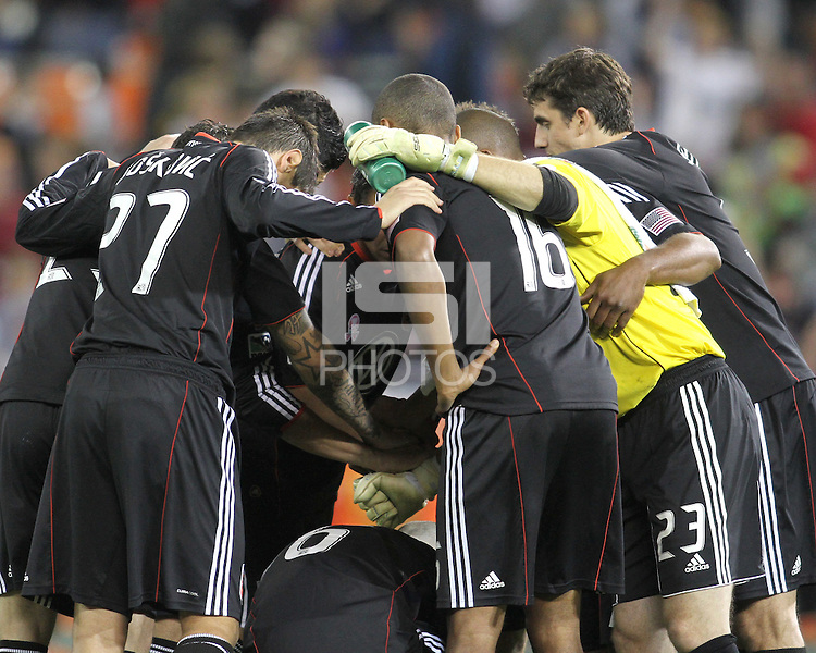 Players of D.C. United huddle during an MLS match against Toronto FC that was the final appearance of D.C. United's Jaime Moreno at RFK Stadium, in Washington D.C. on October 23, 2010. Toronto won 3-2.