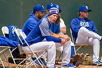 Los Angeles Dodger Walter Buehler on rehab assignment in the bullpen at LoanMart Field on May 2, 2018 in Rancho Cucamonga, California. The Nuts defeated the Quakes 11-4.  (Donn Parris/Four Seam Images)