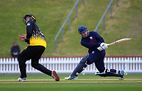 Ben Horne bats as Andrew Fletcher twists during the Ford trophy one day cricket match between Wellington Firebirds and Auckland Aces at the Basin Reserve in Wellington, New Zealand on Sunday, 4 November 2018. Photo: Dave Lintott / lintottphoto.co.nz