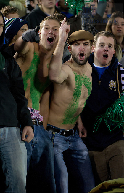 November 19, 2011; Notre Dame Fighting Irish fans cheer their team on during the game against the Boston College Eagles. Photo by Barbara Johnston/University of Notre Dame.